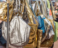 Bags on a flee market Royalty Free Stock Photo