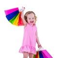 Bags flickan little shopping Royaltyfri Bild