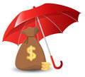 Bags of money and golden coins under an umbrella Royalty Free Stock Photo