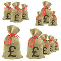 Bags of money with Pounds Sterling Royalty Free Stock Photo