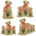 Bags of money with yen Royalty Free Stock Image