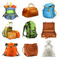 Bags set. 3d vector icon