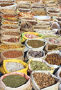 Bags with spices on indian market many Royalty Free Stock Photography