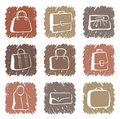 Bags and suitcases doodles Stock Photos