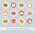 Bags and suitcases icons Royalty Free Stock Images
