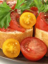 Baguette with tomatoes Stock Images