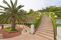 Baha i gardens in haifa israel faith is the youngest of the world s independent religions at one of the numerous stairs Royalty Free Stock Photography