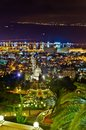 Bahai gardens at night are terraces around the shrine of the bab haifa Royalty Free Stock Photography