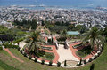 Bahai temple and garden with city of Haifa in the background Royalty Free Stock Photo