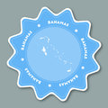 Bahamas map sticker in trendy colors.