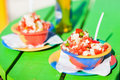 Bahamian conch salad two bowls of Stock Photos