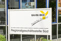 Bahn bkk sign infront of the rosenheim regional office of the which is a health insurer for employees of the german railways Stock Photography