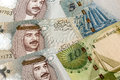 Bahrain currency close up random arrangement of Stock Image
