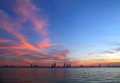 Bahrain skyline during sunset hdr photograph a beautiful view of Stock Photo
