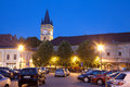 Baia mare the central square of romania view by night Royalty Free Stock Photos