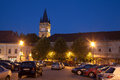 Baia mare the central square of romania view by night Stock Photography