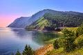 Baikal landscape with an old railway bridge Royalty Free Stock Photo