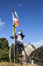 Bailleau le pin france july mascot cyclist riding velocipede decorating yard rural household one day passing peloton th stage le Royalty Free Stock Photography
