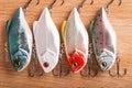 Bait for fishing - wobbler on light wood Royalty Free Stock Photo