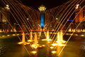 The baiterek tower in astana kazakhstan a night view of with a fountain n foreground Stock Photos