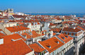 Baixa city center of lisbon panoramic view district downtown area in portugal with the cathedral and river tagus at the background Royalty Free Stock Image