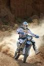 Baja aragon prologue motorbike rider in rally in teruel spain Royalty Free Stock Images