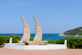 Baja sardinia sardinia italy may modern yacht sculpture in in on Stock Images