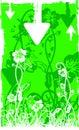 Bak foliage green grunge white 图库摄影