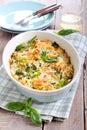 Bake cauliflower broccoli and pasta Royalty Free Stock Photo