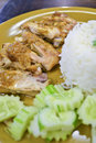 Bake chicken rice of thailand Stock Photography