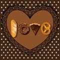 Bake goods in word of love shape