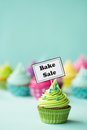Bake sale cupcake with sign Stock Photography
