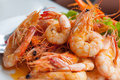 Bake shrimp sold in restaurants in thailand Royalty Free Stock Photo