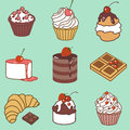 Bake and sweets color set vector with Royalty Free Stock Photo
