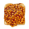 Baked Beans on Toast Isolated Stock Image