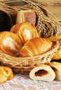 Baked bread in a wicker basket and wheat ears Royalty Free Stock Photo