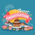Baked cakes cartoon vector illustration. Poster with fruit, berries and chocolate cakes, cupcakes and poundcakes with