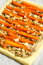 Baked carrot pie with mushrooms and hazelnuts Royalty Free Stock Photos