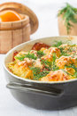 Baked cauliflower with tomato and vegetables and cheese Stock Images