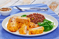 Baked Chicken breast with red rice Royalty Free Stock Photo