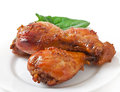 Baked chicken drumsticks in honey mustard marinade Royalty Free Stock Photos