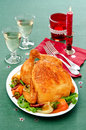 Baked chicken pepper green tablecloth Royalty Free Stock Photos