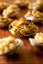 Baked clams closeup of with bread crumb stuffing Royalty Free Stock Image