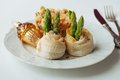 Baked Cod and Asparagus Rolls Royalty Free Stock Photo