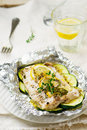 The baked cod with zuccini Royalty Free Stock Photo
