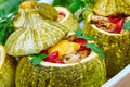 Baked courgettes with stuffing Royalty Free Stock Photo