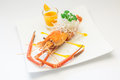 Baked crayfish on dish Stock Photography
