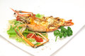 Baked crayfish on dish Stock Photo