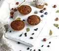 Baked cupcakes with dried fruits