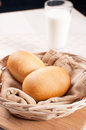 Baked dinner rolls basket milk Royalty Free Stock Image